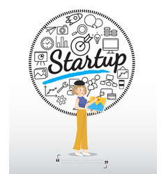 artist character with startup icons on white vector image vector image