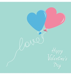 Blue and pink balloons in shape of heart vector image vector image