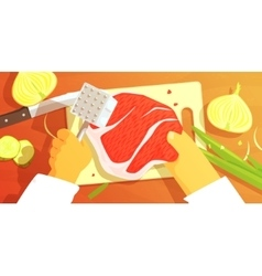 Hands Preparing Meat Colorful From vector image vector image