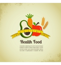 Health food and diet background with measure tape vector image