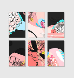 set of artistic creative universal cards hand vector image vector image