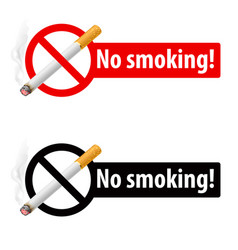 signs no smoking on white background vector image vector image
