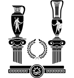 stencil of ancient columns and jugs vector image
