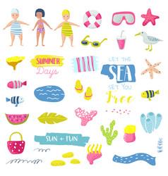summer beach vacation childish elements set vector image