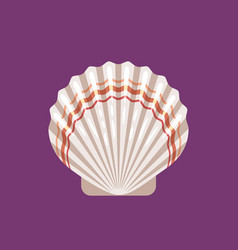seashell scallop flat icon vector image