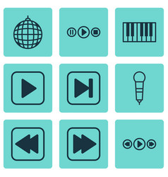 set of 9 music icons includes song ui dance club vector image
