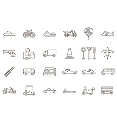 Transport black icons set vector image