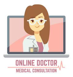 woman online doctor consultation concept design vector image