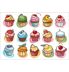 15 colorful delicious cupcakes vector image