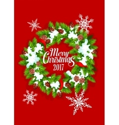 Christmas tree wreath with snowflake poster design vector image vector image