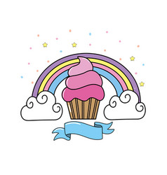 Delicious muffin with rainbow and clouds with vector