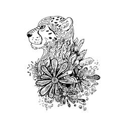 Graphic black cheetah vector image