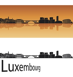 Luxembourg skyline in orange background vector