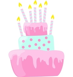 Pink anniversary cake with candles decorations in vector image