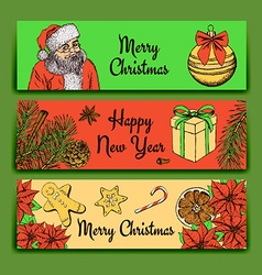 Sketch Christmas banner vector image vector image