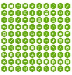 100 compass icons hexagon green vector
