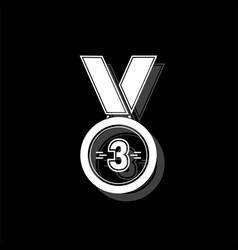 3 winner bronze medal award icon flat vector image
