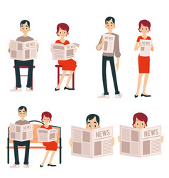 A set of adult couple a man and a woman read a vector