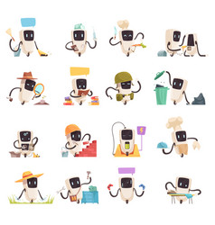 artificial intelligence robots icons set vector image