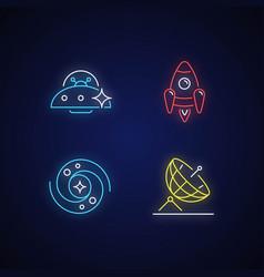 astronautic neon light icons set vector image