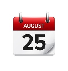 August 25 flat daily calendar icon Date vector
