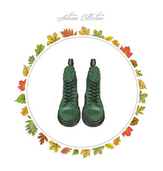 Autumn boots hand draw shoes autumn collection vector