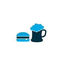 beer with burger icon colored symbol premium vector image