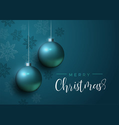 Blue christmas baubles luxury greeting card vector