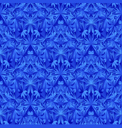 Blue geometrical floral mosaic pattern background vector