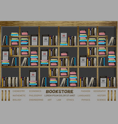 bookstore interior design books on the vector image