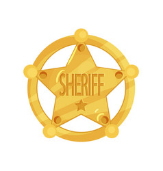 Brass five-pointed sheriff star badge in flat vector