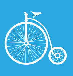 Cartoon penny farthing bicycle - old bicycle icon vector