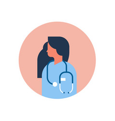 Caucasian woman medical doctor stethoscope profile vector