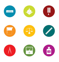 chamber of weight icons set flat style vector image