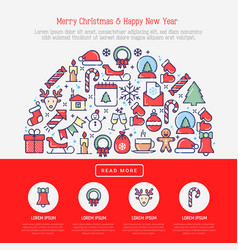 Christmas celebration concept in half circle vector