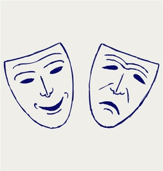 Classic comedy-tragedy theater masks vector