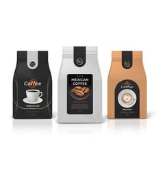 coffee package mockup realistic food pack mockup vector image