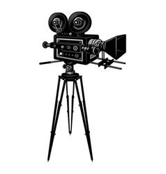colorful retro cinema movie camera template vector image