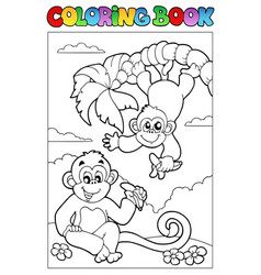 coloring book with two monkeys vector image
