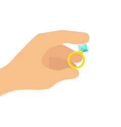 cropped of a hand holding a diamond vector image