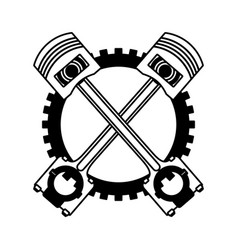 crossed pistons gear cogwheel industry automotive vector image