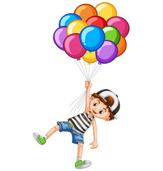 Cute boy and bunch of balloons vector