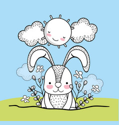 cute rabbit animal with flowers and happy sun vector image