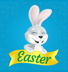 cute smiling and squinting easter bunny vector image