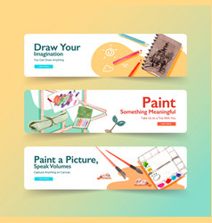 Daily life banner template design for brochure vector