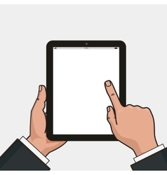 Digital tablet in businessman hands Hands using vector
