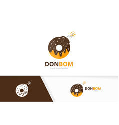Donut and bomb logo combination doughnut vector