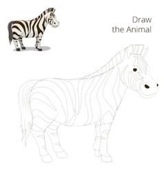 Draw animal educational game zebra vector