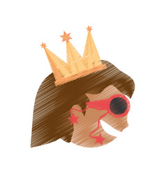 Drawing head girl with crown celebration party vector