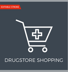 Drugstore shopping thin line icon vector